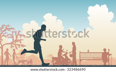 EPS8 editable vector illustration of a jogger running through an urban park - stock vector