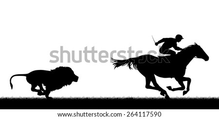 EPS8 editable vector illustration of a male lion chasing a horse and jockey with all figures as separate objects
