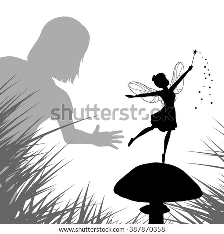 EPS8 editable vector illustration of a young girl finding a fairy dancing on a mushroom - stock vector