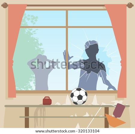 EPS8 editable vector illustration of boys breaking a window with a football - stock vector