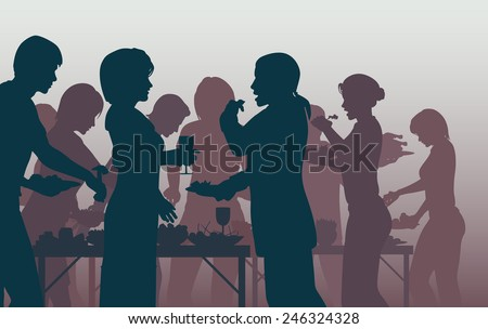 EPS8 editable vector illustration of people enjoying a buffet with all figures as separate objects - stock vector