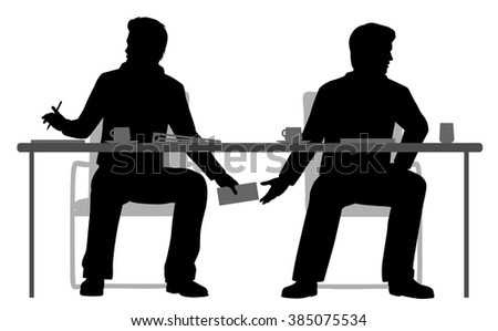 EPS8 editable vector illustration of two businessmen making a secret deal under the table