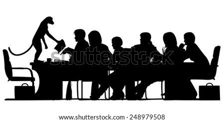 EPS8 editable vector silhouette of a business meeting chaired by a monkey with all figures as separate objects - stock vector