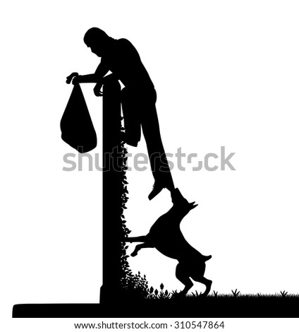 EPS8 editable vector silhouette of a guard dog stopping a thief from escaping over a high garden wall with figures as separate objects - stock vector