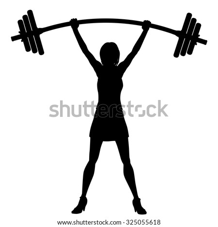 EPS8 editable vector silhouette of a woman easily lifting a heavy weight barbell - stock vector