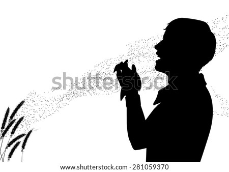 EPS8 editable vector silhouette of pollen drifting from grass flowers with a man suffering from hay fever sneezing - stock vector
