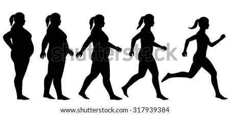 EPS8 editable vector silhouette sequence of a woman exercising to lose weight - stock vector