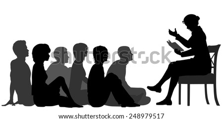 EPS8 editable vector silhouettes of a female teacher reading a story to a group of adults sitting on the floor