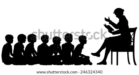 EPS8 editable vector silhouettes of a female teacher reading a story to her pupils with all figures as separate objects - stock vector