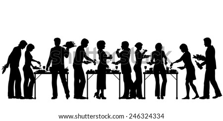 EPS8 editable vector silhouettes of people enjoying a buffet with all elements as separate objects - stock vector