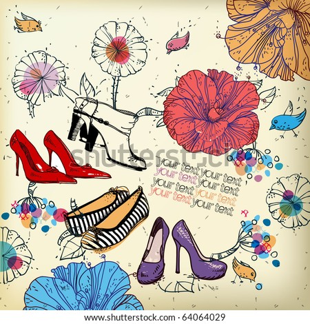 eps10 fantasy background with colored shoes, flowers,birds and berries - stock vector