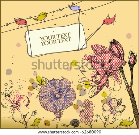 eps10 fantasy background with hand-drawn birds and flowers - stock vector