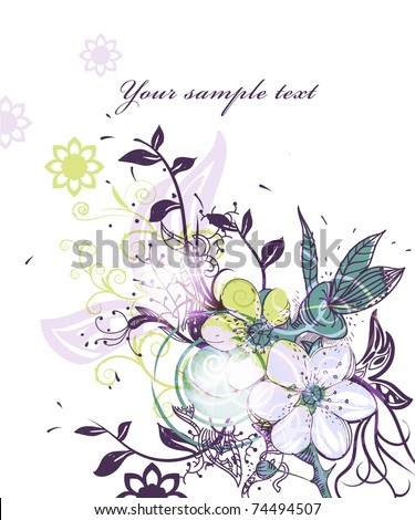 eps10  fantasy flowers and plants on a shining background - stock vector