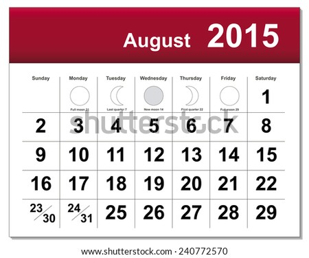EPS10 file. August 2015 calendar. The EPS file includes the version in blue, green and black in different layers - stock vector