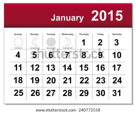 EPS10 file. January 2015 calendar. The EPS file includes the version in blue, green and black in different layers - stock vector