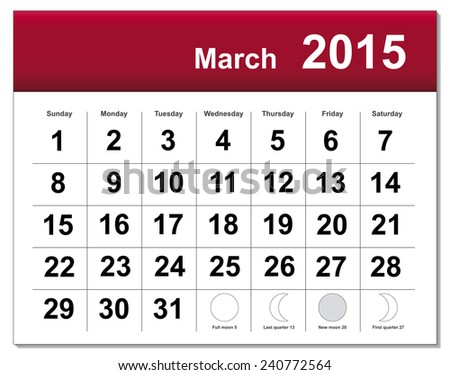 EPS10 file. March 2015 calendar. The EPS file includes the version in blue, green and black in different layers - stock vector