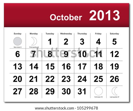 EPS10 file. October 2013 calendar. The EPS file includes the version in blue, green and black in different layers - stock vector