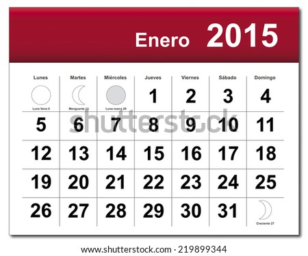 EPS10 file. Spanish version of January 2015 calendar. The EPS file includes the version in blue, green and black in different layers - stock vector
