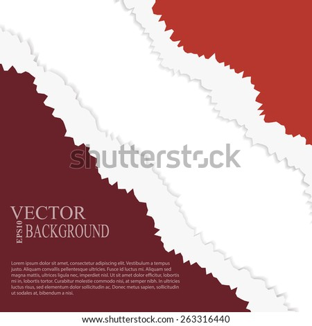 EPS10 file.  tear paper brochure background  red color - stock vector