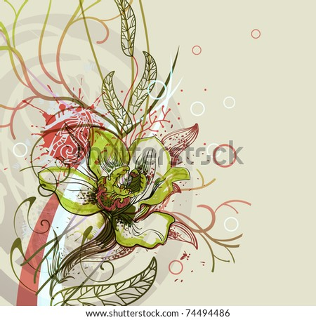 eps10 floral background with a single orchid and abstract plants - stock vector
