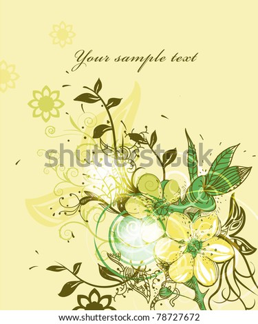 eps10 floral illustration of fantasy blooming flowers on shining background - stock vector