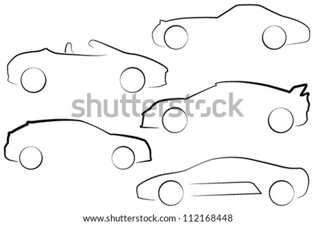 EPS 10 format multiple car outlines in different styles - stock vector