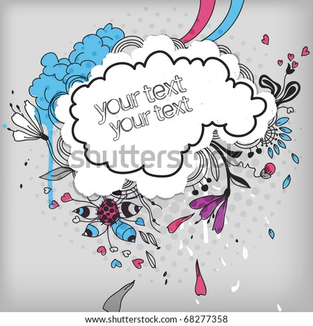 eps10 frame with colorful hand drawn flowers, clouds, drops and hearts. - stock vector