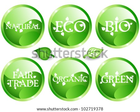 EPS 10: Fun collection of green shade web glossy buttons with different environmental or sustainable development related messages: bio, eco, natural, green, organic, fair trade. - stock vector