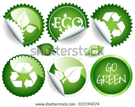 EPS 10: Fun collection of green stickers in different shapes, circle or rosette, some glossy, all with ecological or environmental message, recycling symbol, leaves and others. - stock vector