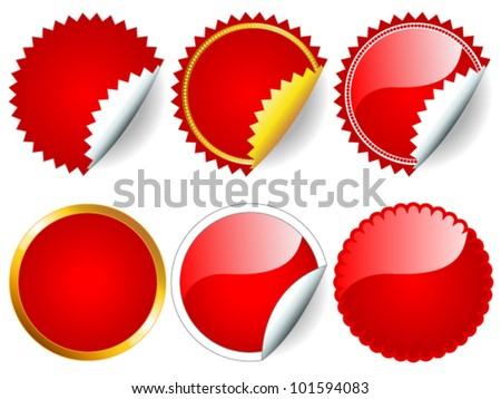 eps 10 fun collection red stickers stock vector royalty free