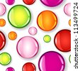 EPS 10: Fun seamless pattern made of different size glossy circles or bubbles in pale and dark pink, red, lime green and orange, all with shadows over white background. - stock vector