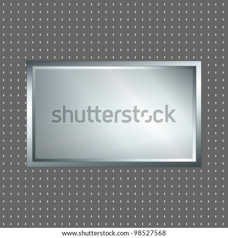 EPS 10: Futuristic looking silver metallic sign over grey polka dot background, perfect for advertisement.