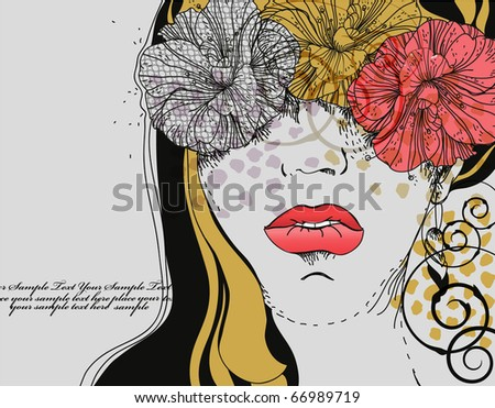 eps10 girl with bright lips and fantasy flowers - stock vector
