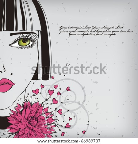 eps10 girl with bright lips and green eyes - stock vector