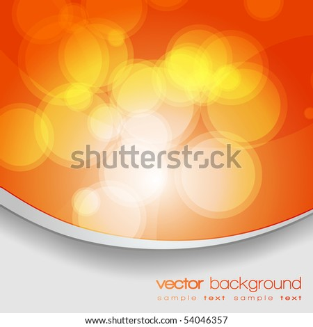 EPS10 Glittering orange lights background with text - vector - stock vector