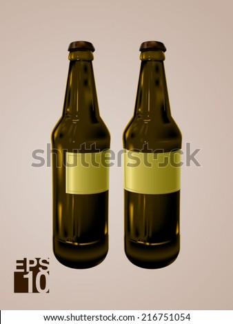 EPS 10 Green Beer glass bottles vector realistic illustration for label designs - stock vector