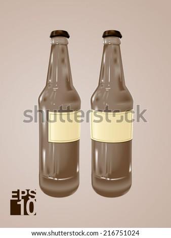 EPS 10 Grey Beer glass bottles vector realistic illustration for label designs - stock vector