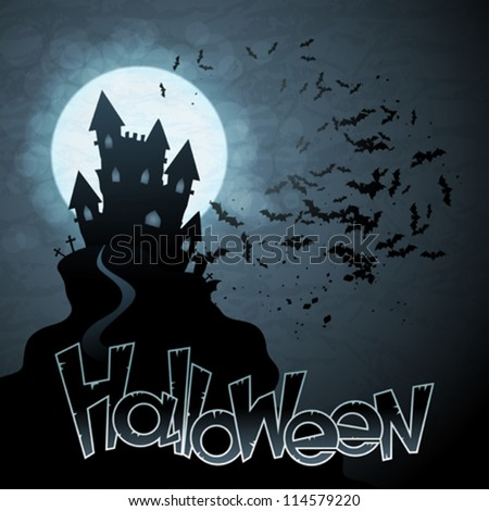 EPS 10 Halloween background with moon and bats. - stock vector