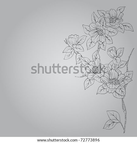 eps10 hand drawn background with a fantasy flower - stock vector