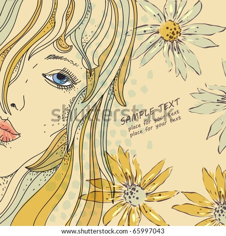 eps10 hand drawn background with female face and summer flowers - stock vector