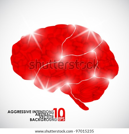 eps10, human brain, aggressive intentions, vector abstract background - stock vector