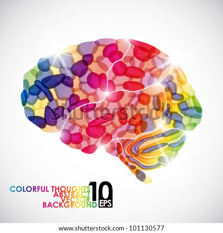 eps10, human brain, colorful thoughts, vector abstract background