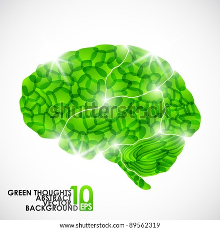 eps10, human brain, green thoughts, vector abstract background - stock vector