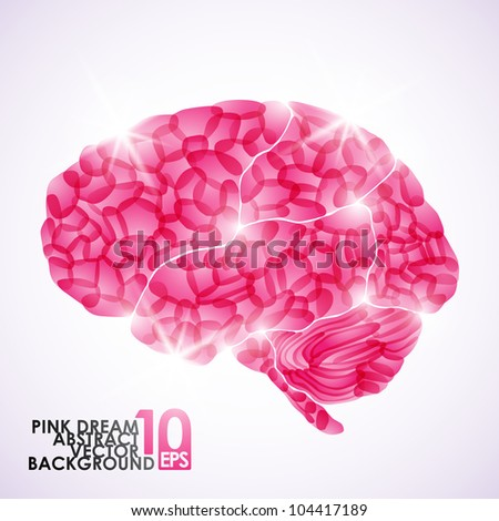 eps10, human brain, pink dream, vector abstract background