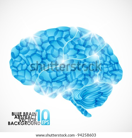 eps10, human brain, vector abstract background - stock vector