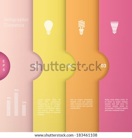 EPS10 minimal paper design template with light bulb icon set for numbered banner, infographic layout, web site background - candy color version - stock vector
