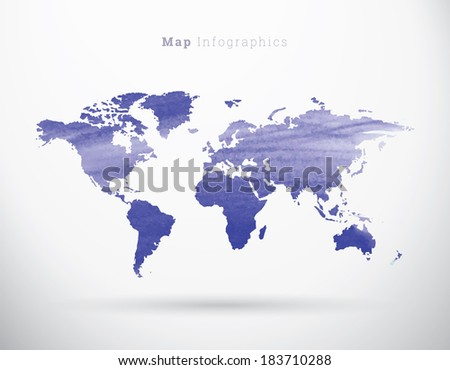 EPS10 painted paper design world map for infographics, web site background, report- blue version - stock vector