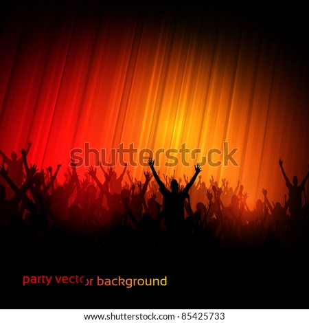 EPS10 Party People Perspective Vector Background - Dancing Young People - stock vector