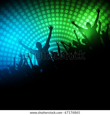 EPS10 Party People Vector Background - Dancing Young People. - stock vector