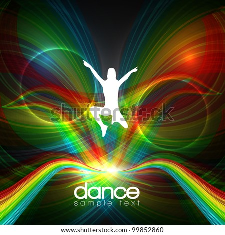 EPS10 Party People Vector Background - Jumping Young Women - stock vector